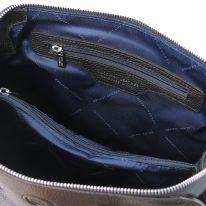 イタリア製シボ型押しレザーの2WAYハンドバッグ LILIA、ブラック、詳細3