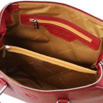 イタリア製シボ型押しレザーの2WAYハンドバッグ LILIA、レッド、詳細3