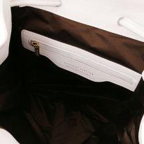 イタリア製シボ型押しレザーのフロントポケット・リュックTL BAG、ホワイト、詳細3