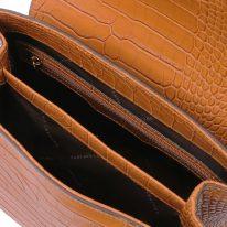 イタリア製クロコ型押しレザー2WAYハンドバッグ TL BAG、シナモン、詳細3