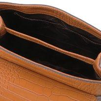 イタリア製クロコ型押しレザー2WAYハンドバッグ TL BAG、シナモン、詳細4
