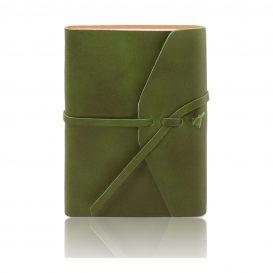 イタリア製ベジタブルタンニンレザーカバーのノート、グリーン