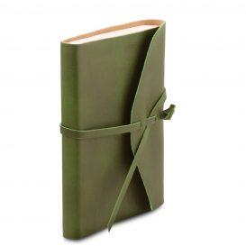 イタリア製ベジタブルタンニンレザーカバーのノート、グリーン、詳細