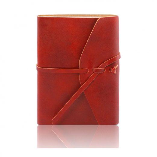 イタリア製ベジタブルタンニンレザーカバーのノート、レッド