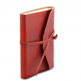 イタリア製ベジタブルタンニンレザーカバーのノート、レッド、詳細