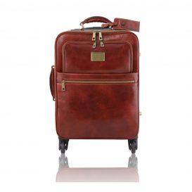 イタリア製ベジタブルタンニンレザー4車輪スーツケース/キャリーバッグ TL VOYAGER、ブラウン