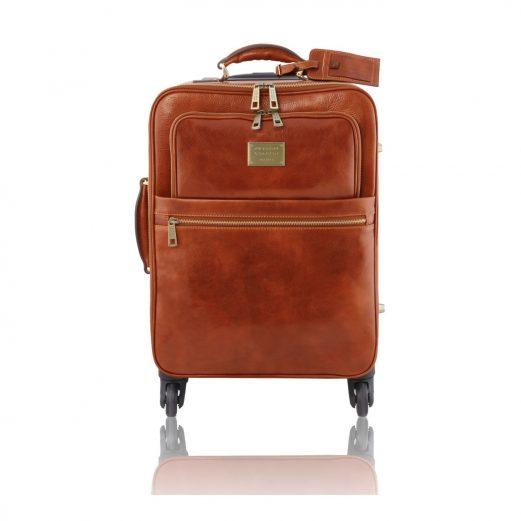イタリア製ベジタブルタンニンレザー4車輪スーツケース/キャリーバッグ TL VOYAGER、ハニー