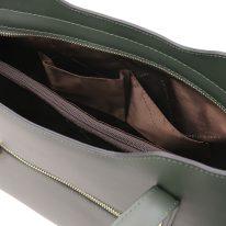 イタリア製スムースレザー2WAYトートバッグMサイズ OLIMPIA、フォレストグリーン、詳細5