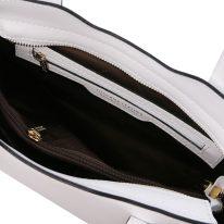 イタリア製スムースレザー2WAYトートバッグSサイズ OLIMPIA、ホワイト、詳細3
