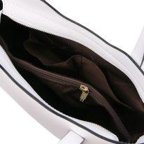 イタリア製スムースレザー2WAYトートバッグSサイズ OLIMPIA、ホワイト、詳細4