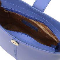 イタリア製スムースレザーショルダーバッグ TETI、ブルー、詳細4
