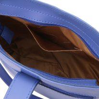 イタリア製スムースレザーショルダーバッグ TETI、ブルー、詳細5