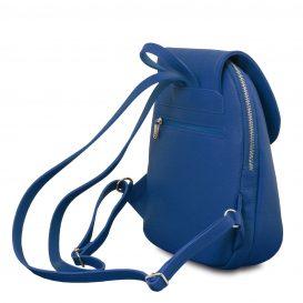イタリア製シボ型押しレザーのタッセルつきリュックTL BAG、ブルー、詳細1
