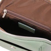 イタリア製シボ型押しレザーのタッセルつきリュックTL BAG、ミントグリーン、詳細3