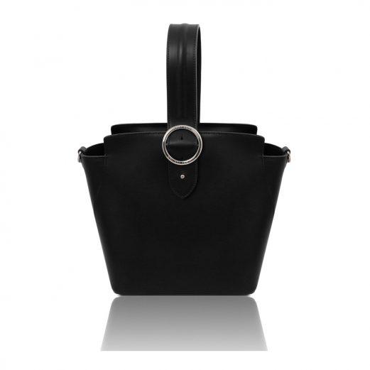 イタリア製スムースレザー2WAYワンハンドルのハンドバッグ GEA、ブラック
