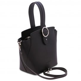 イタリア製スムースレザー2WAYワンハンドルのハンドバッグ GEA、ブラック、詳細1