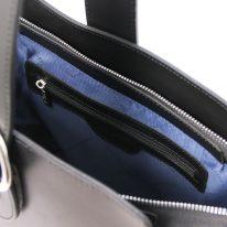 イタリア製スムースレザー2WAYワンハンドルのハンドバッグ GEA、ブラック、詳細4