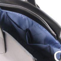イタリア製スムースレザー2WAYワンハンドルのハンドバッグ GEA、ブラック、詳細5