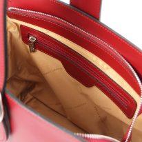 イタリア製スムースレザー2WAYワンハンドルのハンドバッグ GEA、レッド、詳細4