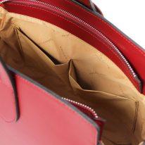 イタリア製スムースレザー2WAYワンハンドルのハンドバッグ GEA、レッド、詳細5