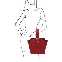 イタリア製スムースレザー2WAYワンハンドルのハンドバッグ GEA、レッド、詳細6