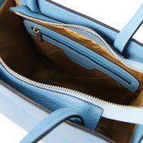 イタリア製シボ型押しレザーの2WAYトートバッグ MEDEA、ライトブルー、詳細4