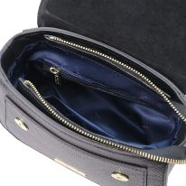 イタリア製シボ型押しレザーの2WAYハンドバッグ TL BAG、ブラック、詳細3