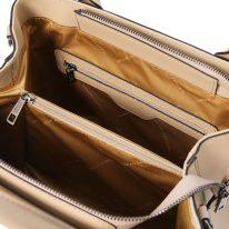 イタリア製スムースレザー2WAYハンドバッグ EBE、シャンパーニュ、詳細3