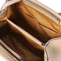 イタリア製スムースレザー2WAYハンドバッグ EBE、シャンパーニュ、詳細4
