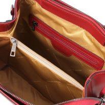 イタリア製スムースレザー2WAYハンドバッグ EBE、レッド、詳細3