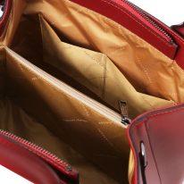 イタリア製スムースレザー2WAYハンドバッグ EBE、レッド、詳細4