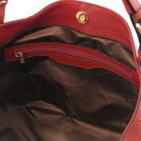 イタリア製シボ型押しレザーの2WAYハンドバッグAMBROSIA、レッド、詳細2