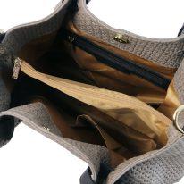 イタリア製イントレチャート編み込み風スウェードの2WAYトートバッグ TL KeyLuck、ダークトープ、詳細3
