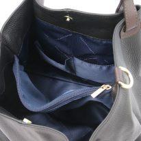 イタリア製シボ型押しレザーの2WAYトートバッグ TL KeyLuck、ブラック、詳細3