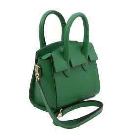 イタリア製スムースレザー2WAYハンドバッグ BRIGID-Sサイズ、グリーン、詳細1