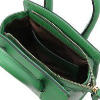 イタリア製スムースレザー2WAYハンドバッグ BRIGID-Sサイズ、グリーン、詳細2