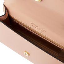 イタリア製ゴールドチェーンのクラッチ&ショルダーバッグ FORTUNA、ピンク、詳細1