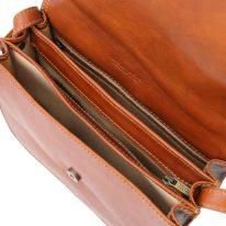 イタリア製ベジタブルタンニンレザーのショルダーバッグ GRETA、ハニー、詳細