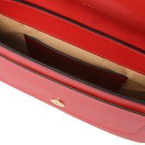 イタリア製スムースレザーハンドバッグ NOEMI、ルージュ、詳細3