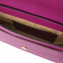 イタリア製スムースレザーハンドバッグ NOEMI、パープル、詳細3