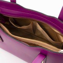イタリア製スムースレザー2WAYトートバッグSサイズ OLIMPIA、パープル、詳細4