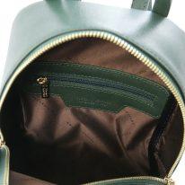 イタリア製サフィアーノレザーのミニリュック TL BAG、フォレストグリーン、詳細3