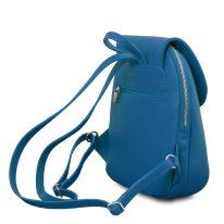 イタリア製シボ型押しレザーのやわらかいリュックTL BAG、ブルー、詳細1
