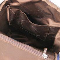 イタリア製シボ型押しレザーのやわらかいリュックTL BAG、ブルー、詳細4