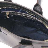 イタリア製パルメラートレザーのトートバッグ CATHERINE、ブラック、詳細4