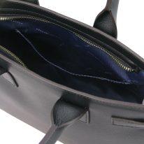 イタリア製パルメラートレザーのトートバッグ CATHERINE、ブラック、詳細5