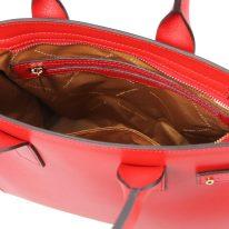 イタリア製パルメラートレザーのトートバッグ CATHERINE、ルージュ、詳細4