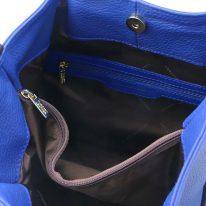 イタリア製シボ型押しレザーの2WAYトートバッグ TL KeyLuck、ブルー、詳細2