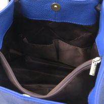 イタリア製シボ型押しレザーの2WAYトートバッグ TL KeyLuck、ブルー、詳細3