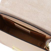 イタリア製ゴールドチェーンのクラッチ&ショルダーバッグ TL BAG、ヌード、詳細4